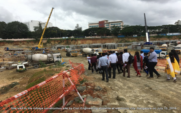 Site visit to the infosys construction site by Civil Engineering students at electronic city, Bangalore on July 10, 2018